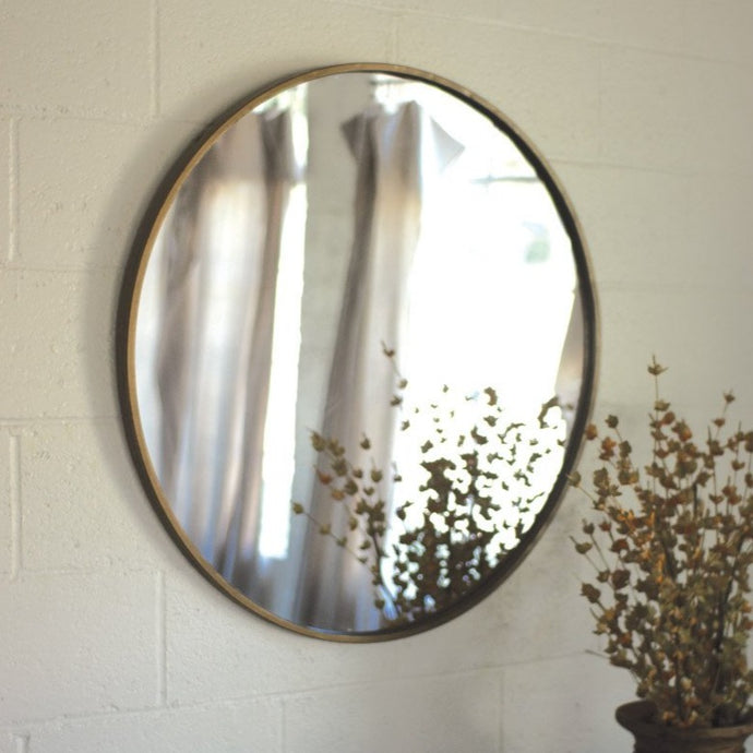 ROUND ANTIQUE FINISH MIRROR (Local only)