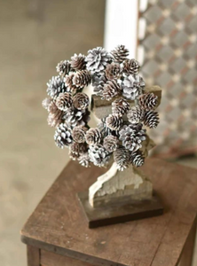 SNOW DUST PINECONE CANDLE RING