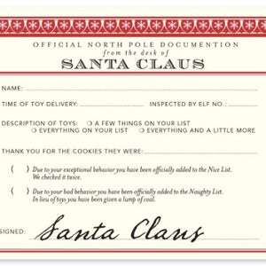 Santa Claus Receipt Notecards