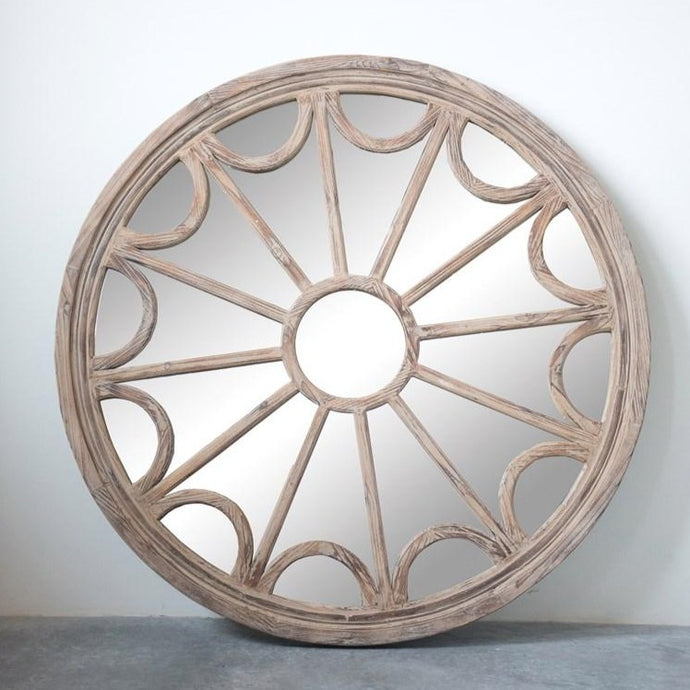 ROUND WOOD FRAME MIRROR