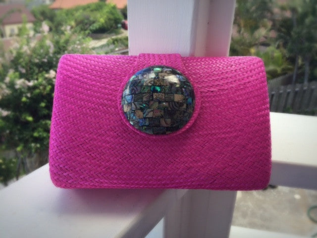 Circle Clutch in Fuschia