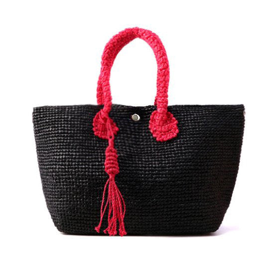 Straw-Bag Convertible in Black & Red