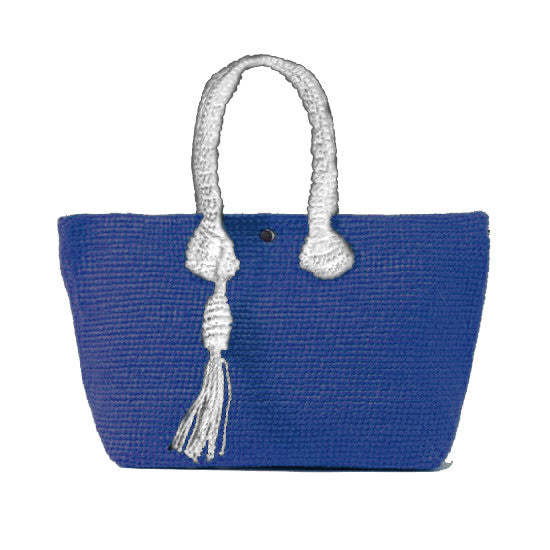 Straw-Bag Convertible in Blue & White