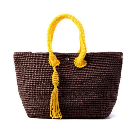 Straw-Bag Convertible in Brown & Yellow