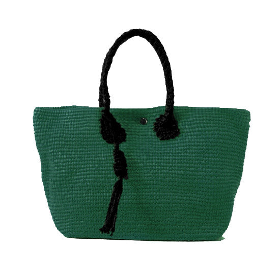 Straw-Bag Convertible in Green & Black