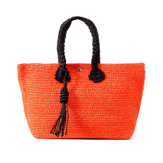 Straw-Bag Convertible in Orange & Black