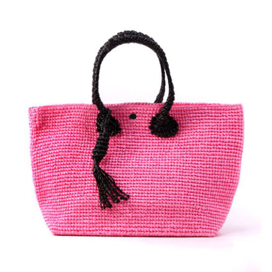 Straw-Bag Convertible in Pink & Black