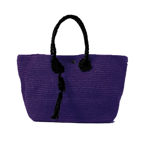 Straw-Bag Convertible in Purple & Black