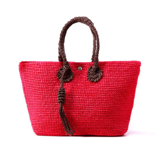 Straw-Bag Convertible in Red & Brown