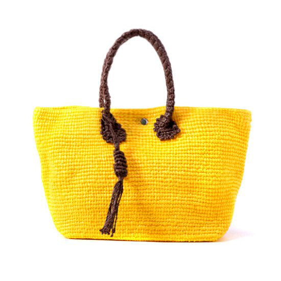 Straw-Bag Convertible in Yellow & Brown