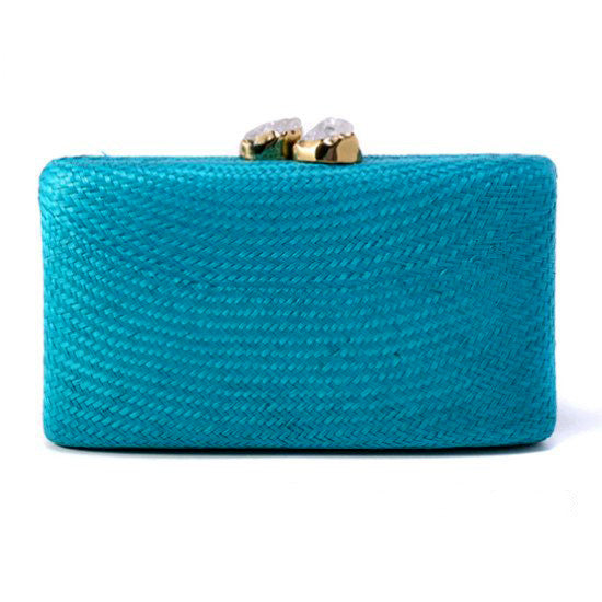 Stone Clutch in Blue Turquoise with White Clear Quartz