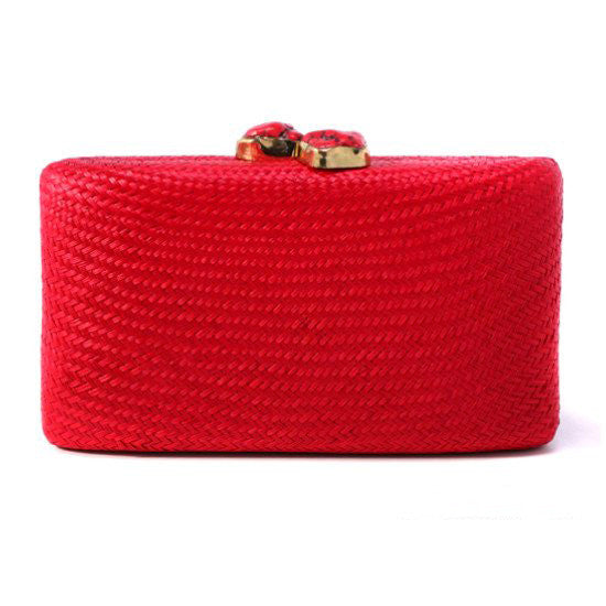 Stone Clutch in Red with Red Coral