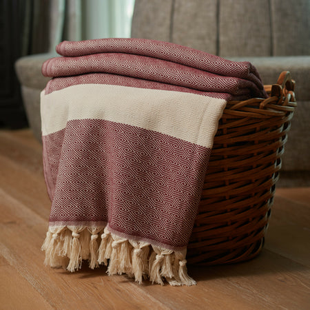 Striped Diamond Throw Blanket Burgundy