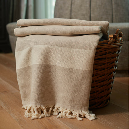 Striped Diamond Throw Blanket Beige