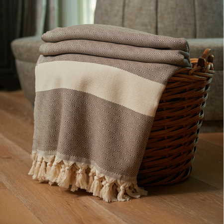 Striped Diamond Throw Blanket Brown