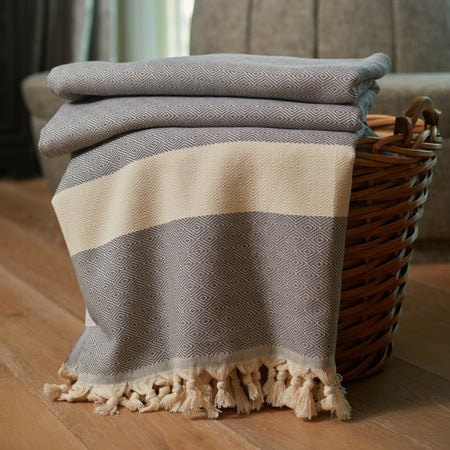 Striped Diamond Throw Blanket Dark Grey