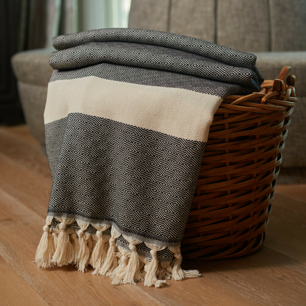 Black Striped Throw Blankets with Handmade Tassels - 100% Turkish Cotton Throw Blankets by Lushrobe