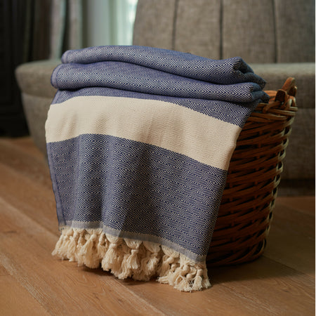 Striped Diamond Throw Blanket Navy