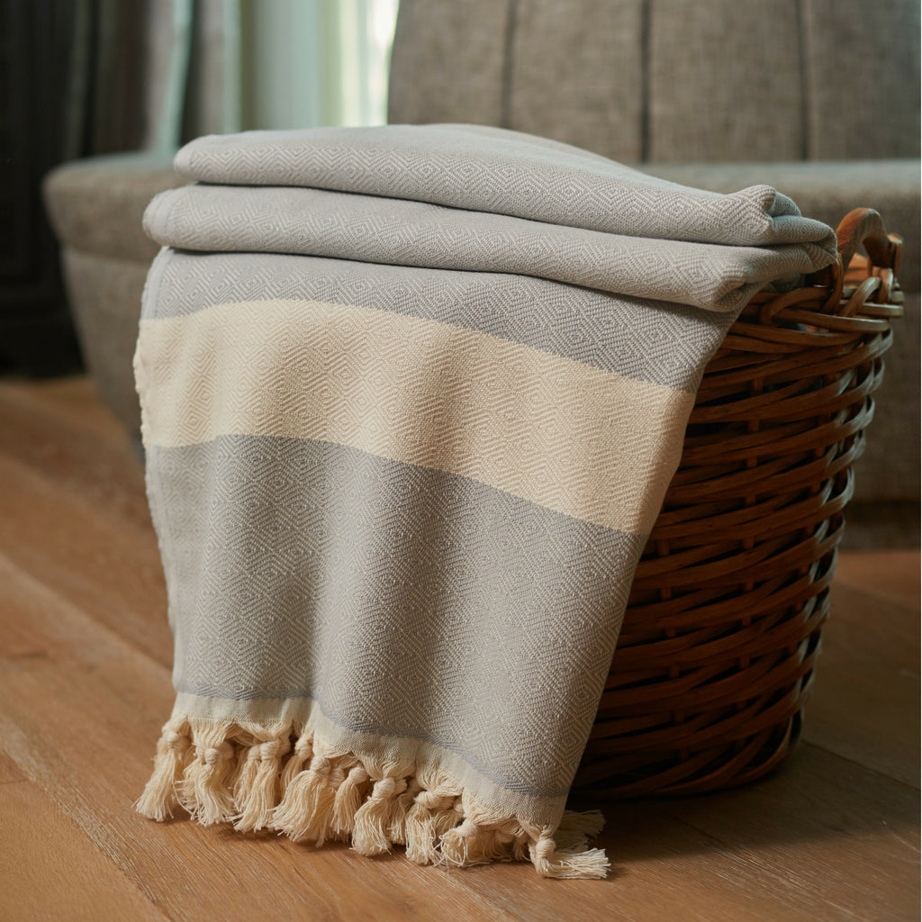 Grey Striped Throw Blankets with Handmade Tassels - 100% Turkish Cotton Throw Blankets by Lushrobe