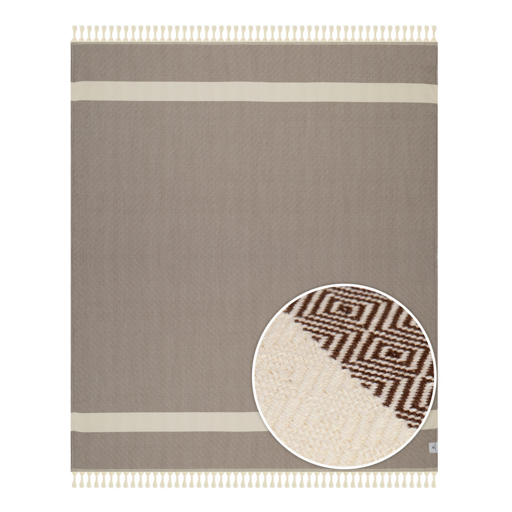 Brown Striped Throw Blankets with Handmade Tassels - 100% Turkish Cotton Throw Blankets by Lushrobe