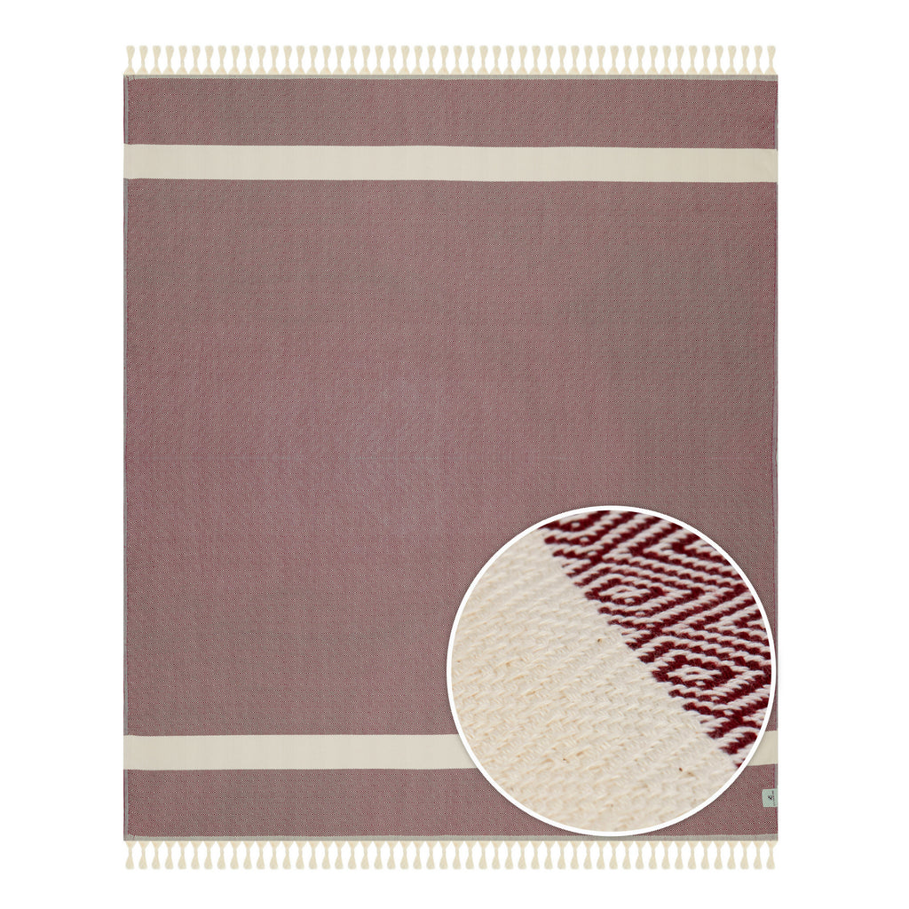 Burgundy Striped Throw Blankets with Handmade Tassels - 100% Turkish Cotton Throw Blankets by Lushrobe
