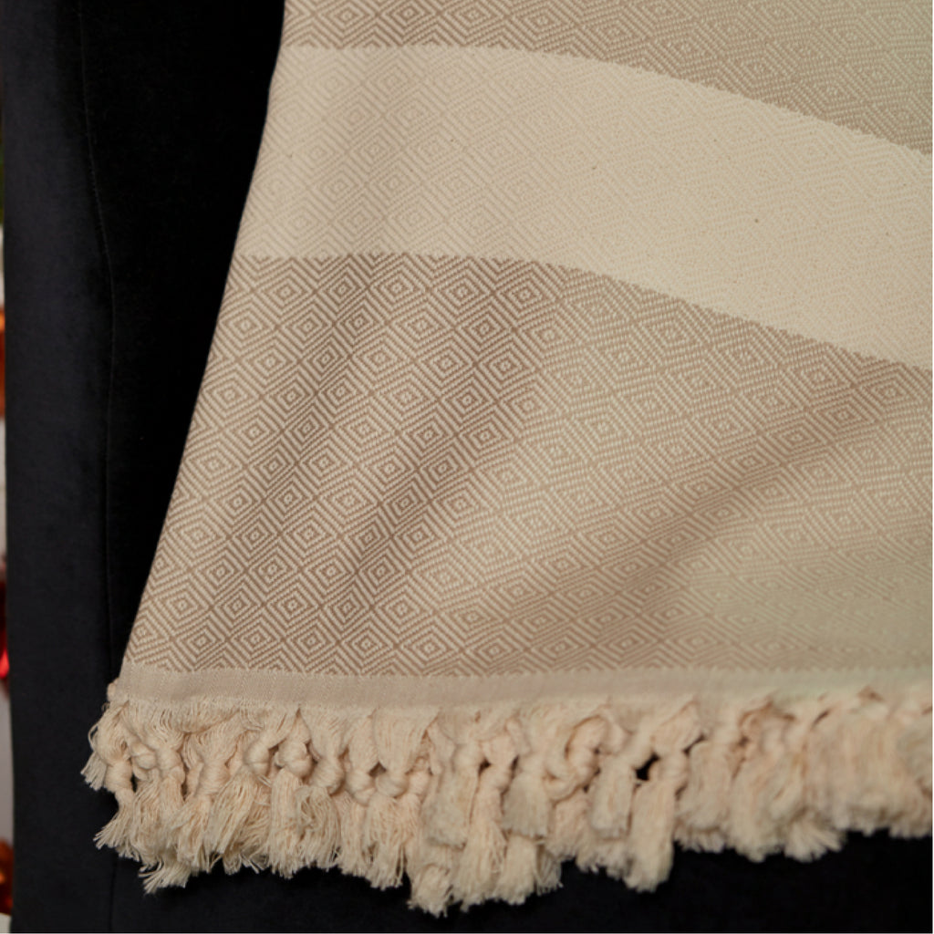 Beige Striped Throw Blankets with Handmade Tassels - 100% Turkish Cotton Throw Blankets by Lushrobe