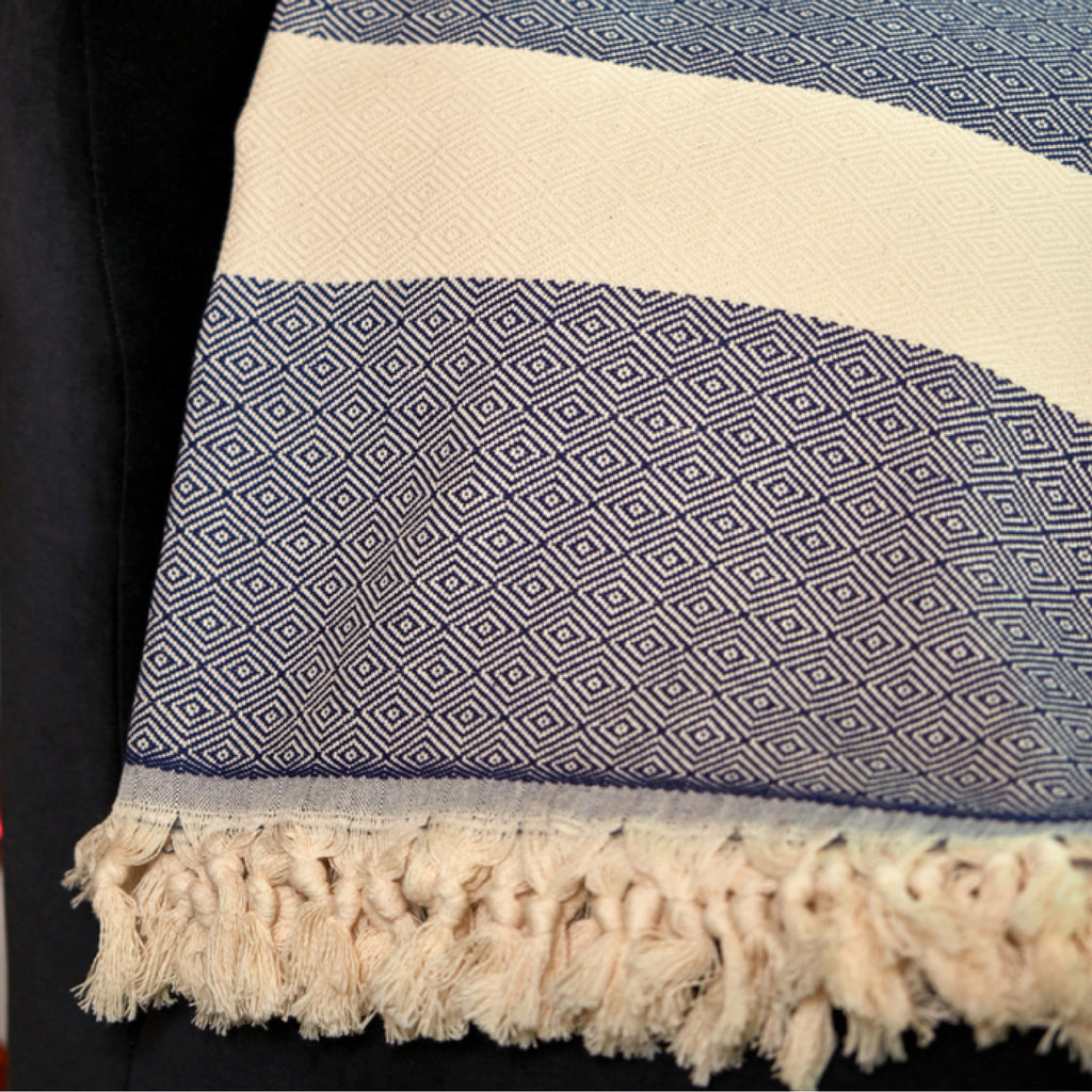 Navy Striped Throw Blankets with Handmade Tassels - 100% Turkish Cotton Throw Blankets by Lushrobe