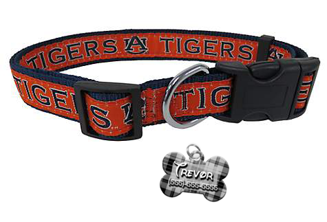 Auburn Tigers NCAA Pet Dog or Cat Collar with FREE Personalized ID Dog Tag with Name & Number [Multiple Collar Sizes Avl: S,M,L] | ElitePetFan.com