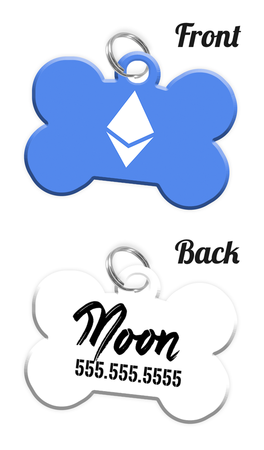 Ethereum Ether Double-Sided Dog Tag for Pet Personalized Custom Pet Tag with Pets Name & Contact Number