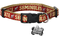Florida State Seminoles NCAA Pet Dog or Cat Collar with FREE Personalized ID Dog Tag with Name & Number [Multiple Collar Sizes Avl: S,M,L] - EliteFanCo