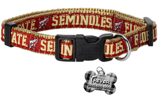 Florida State Seminoles NCAA Pet Dog or Cat Collar with FREE Personalized ID Dog Tag with Name & Number [Multiple Collar Sizes Avl: S,M,L] | ElitePetFan.com