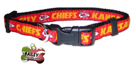 Kansas City Chiefs Football Pet Dog or Cat Collar with FREE Personalized ID Dog Tag with Name & Number [Multiple Collar Sizes Avl: S,M,L]
