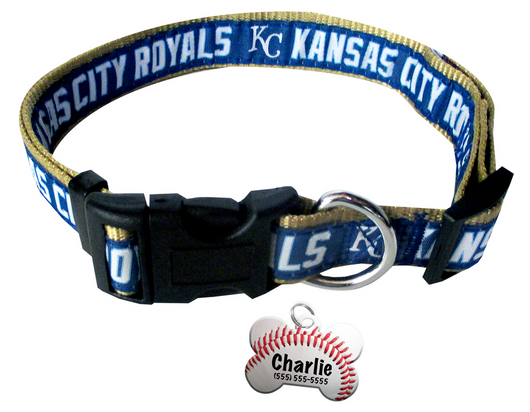 Kansas City Royals Baseball Dog or Cat Collar with FREE Personalized Dog Tag for Pets with Name & Number [Multiple Collar Sizes Avl: S,M,L] | ElitePetFan.com