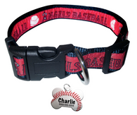 LA Angels Baseball Dog or Cat Collar with FREE Personalized Dog Tag for Pets with Name & Number [Multiple Collar Sizes Avl: S,M,L]