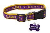 LSU Tigers NCAA Pet Dog or Cat Collar with FREE Personalized ID Dog Tag with Name & Number [Multiple Collar Sizes Avl: S,M,L]