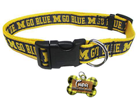 Michigan Wolverines NCAA Pet Dog or Cat Collar with FREE Personalized ID Dog Tag with Name & Number [Multiple Collar Sizes Avl: S,M,L] | ElitePetFan.com