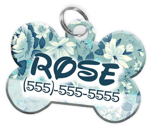 Flowers Pattern Disney Themed Personalized Custom Pet Tag ID | ElitePetFan.com