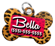 Animal Print Leopard Dog Tag for Pets Personalized Custom Pet Tag with Pets Name & Contact Number [Multiple Font Choices] [USA COMPANY] - EliteFanCo