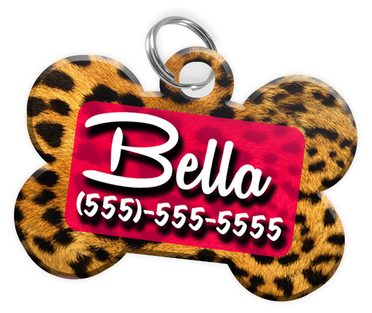 Animal Print Leopard Dog Tag for Pets Personalized Custom Pet Tag with Pets Name & Contact Number [Multiple Font Choices] [USA COMPANY] | ElitePetFan.com