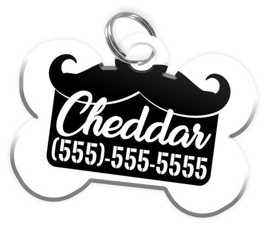 Funny Mustache (Black) Dog Tag for Pets Personalized Custom Pet Tag with Pets Name & Contact Number [Multiple Font Choices] [USA COMPANY] - EliteFanCo