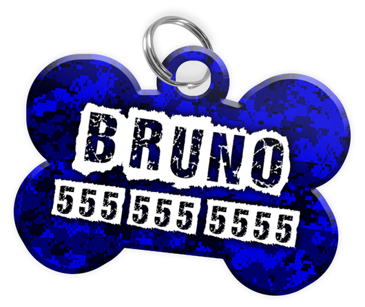 Digital Camo (Blue) Dog Tag for Pets Personalized Custom Pet Tag with Pets Name & Contact Number [Multiple Font Choices] [USA COMPANY] | ElitePetFan.com