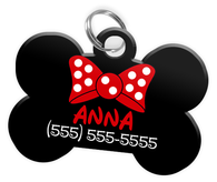 Red Bow Tie Dog Tag for Pets Personalized Custom Pet Tag with Pets Name & Contact Number [Multiple Font Choices - Disney Themed Font Available] | ElitePetFan.com