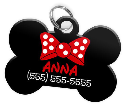 Red Bow Tie Dog Tag for Pets Personalized Custom Pet Tag with Pets Name & Contact Number [Multiple Font Choices - Disney Themed Font Available]