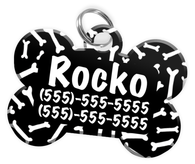 Dog Bone Pattern (Black) Dog Tag for Pets Personalized Custom Pet Tag with Pets Name & Contact Number [Multiple Font Choices] [USA COMPANY]