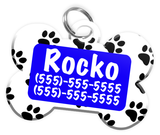 Paw Print Pattern (Blue) Dog Tag for Pets Personalized Custom Pet Tag with Pets Name & Contact Number [Multiple Font Choices] [USA COMPANY]