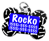 Dog Bone Pattern (Blue) Dog Tag for Pets Personalized Custom Pet Tag with Pets Name & Contact Number [Multiple Font Choices] [USA COMPANY] - EliteFanCo