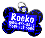 Dog Bone Pattern (Blue) Dog Tag for Pets Personalized Custom Pet Tag with Pets Name & Contact Number [Multiple Font Choices] [USA COMPANY] | ElitePetFan.com