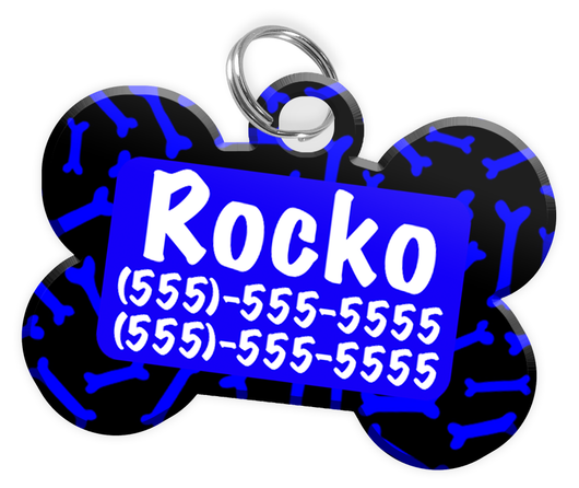 Dog Bone Pattern (Blue) Dog Tag for Pets Personalized Custom Pet Tag with Pets Name & Contact Number [Multiple Font Choices] [USA COMPANY]