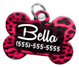 Animal Print Pink Leopard Dog Tag for Pets Personalized Custom Pet Tag with Pets Name & Contact Number [Multiple Font Choices] [USA COMPANY] - EliteFanCo