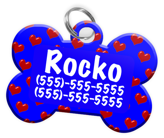 Heart Pattern (Blue) Dog Tag for Pets Personalized Custom Pet Tag with Pets Name & Contact Number [Multiple Font Choices] [USA COMPANY] - EliteFanCo